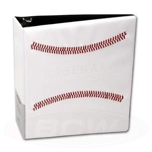 Details About Baseball Card Holder Storage Album White 3 Inch Bcw Binder Book 3 Ring Stitched
