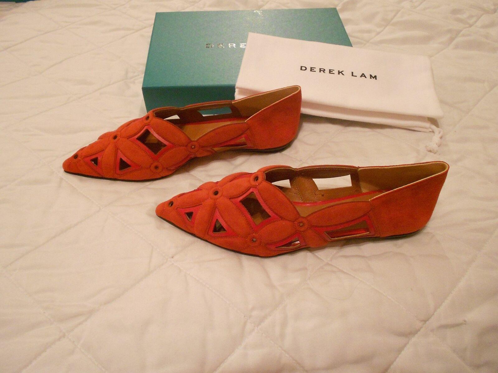 Derek Lam  Saba  Cut Cut Cut Out Terracotta Rossa Suede Leather Flats, Size 39.5,  795 3003ce