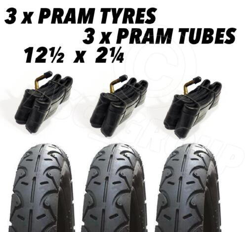 "3x Pram Tyres /& Bent Valve Tubes DURO 12/"" 12-1//2x2-1//4/"" 30cm Slick Tyre BLACK"