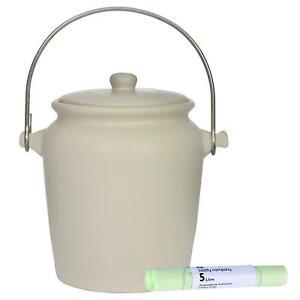 Garden Trading Céramique Compost Caddy/food Bin – Blanc Cassé –3.5 L & 25 X 5 L Sacs-3.5l & 25 X 5l Bags Fr-fr Afficher Le Titre D'origine Soulager La Chaleur Et Le Soleil
