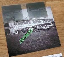 RARE NEGATIF PLAQUE  + PHOTO AERODROME ET AVIONS WWI 14 18