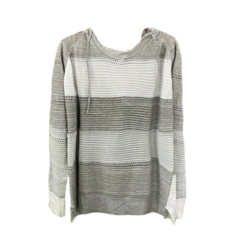 Femmes manches longues Pull tricoté avec capuche patchwork Hoodie Pull Pull Top #