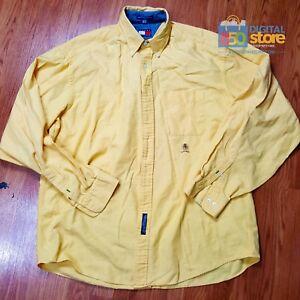 TOMMY-Hilfiger-Button-Front-L-S-Long-Sleeve-Dress-Shirt-Yellow-16-1-2-36-37-EUC