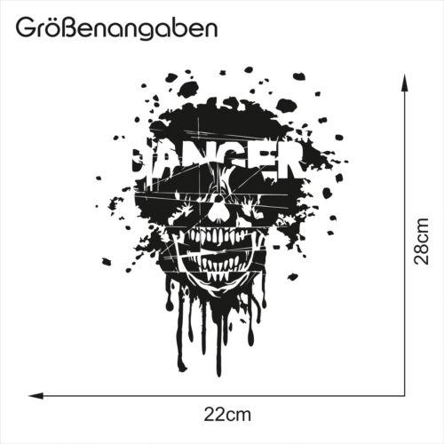 Totenkopf Danger Aufkleber Schwarz Glanz 28x20cm Folie Auto Zubehör Sticker K068