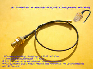 UFL Hirose / IPX zu SMA Pigtail für WLAN & WWAN Mini Pci, minipci express