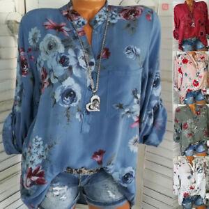 Women-Floral-Button-V-Neck-Blouse-Long-Sleeve-Boho-T-Shirt-Casual-Plus-Size-Tops