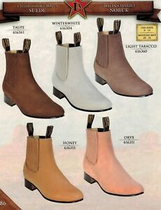 Los Altos Men's Charro Short Pull Up Suede Nobuck Western Ankle Boots