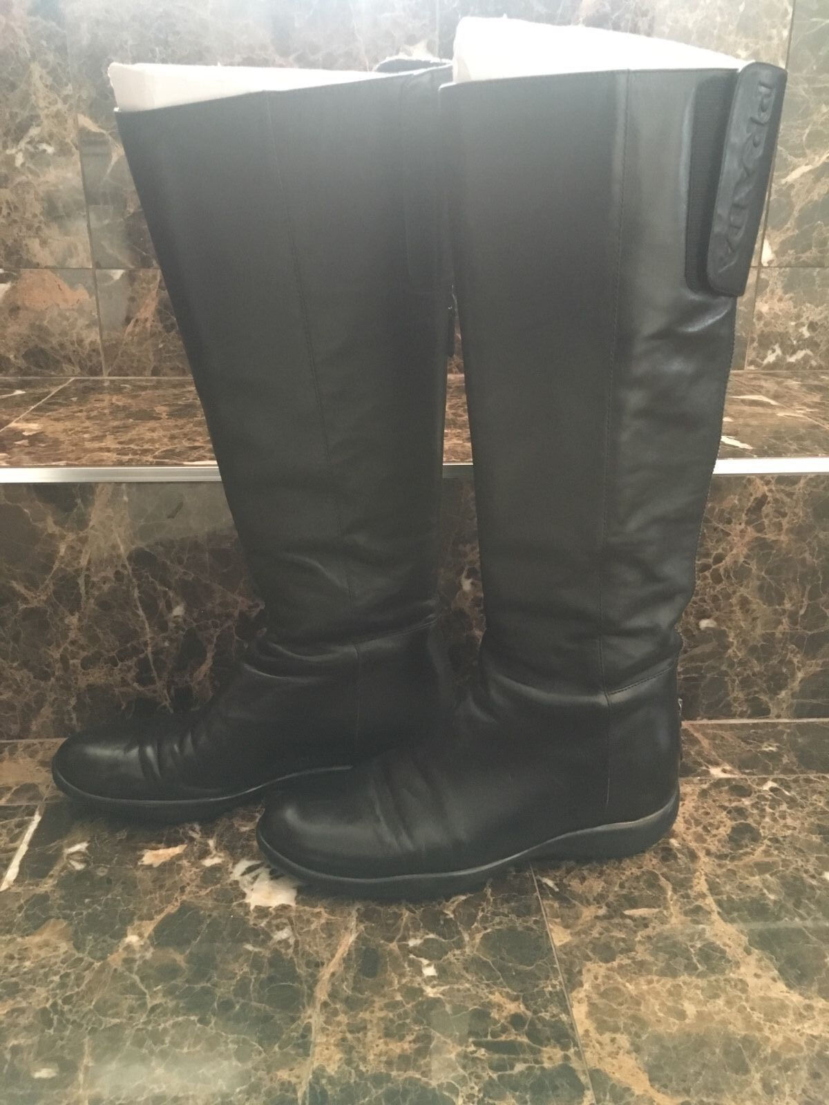 auth PRADA LINEA ROSSA black leather Flat Knee-High Boots Shoes 37
