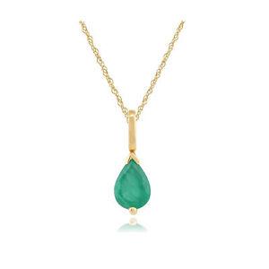 9ct-Yellow-Gold-0-59ct-Pear-Cut-Emerald-Single-Stone-Pendant-on-Chain
