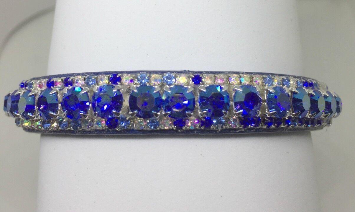 Sapphire blu Aurora AB Crystal Rhinestone Dog Cat Collar