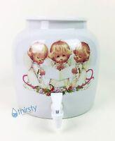 Porcelain Water Crock Ceramic Dispenser Cute Angels Faucet Valve Spigot Aqua
