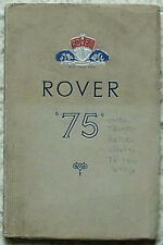 ROVER 75 Car Owners Instruction Manual Handbook Nov 1952 #TP/154/B