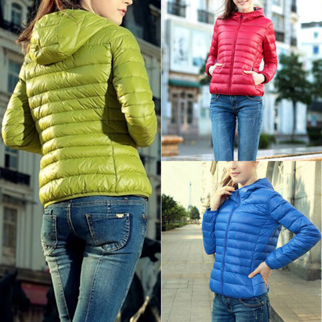 mujer invierno Entallado Abrigo Con Capucha Cremallera gabardina chaqueta parka