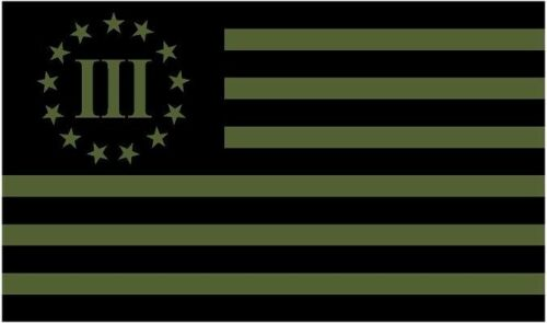"""1-5/"""" x 3/"""" 3 Percenter Olive Green//Black Subdued Flag Decal Sticker R"""