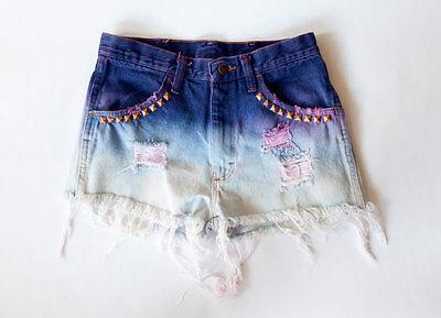 Vintage High Waist Distressed Dyed Purple Denim Cut Off  Shorts UNIF Nastygal