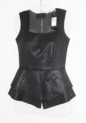 GUESS Top - Black Faux Leather Reptile Print (Sold out on the Guess Site) - XXS