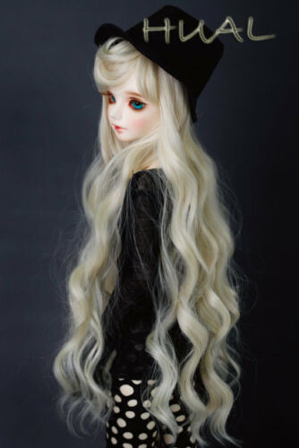 "1//3 8-9/"" BJD Doll Wig Blonde Blond Curly Wavy Hair Wave Long Princess"