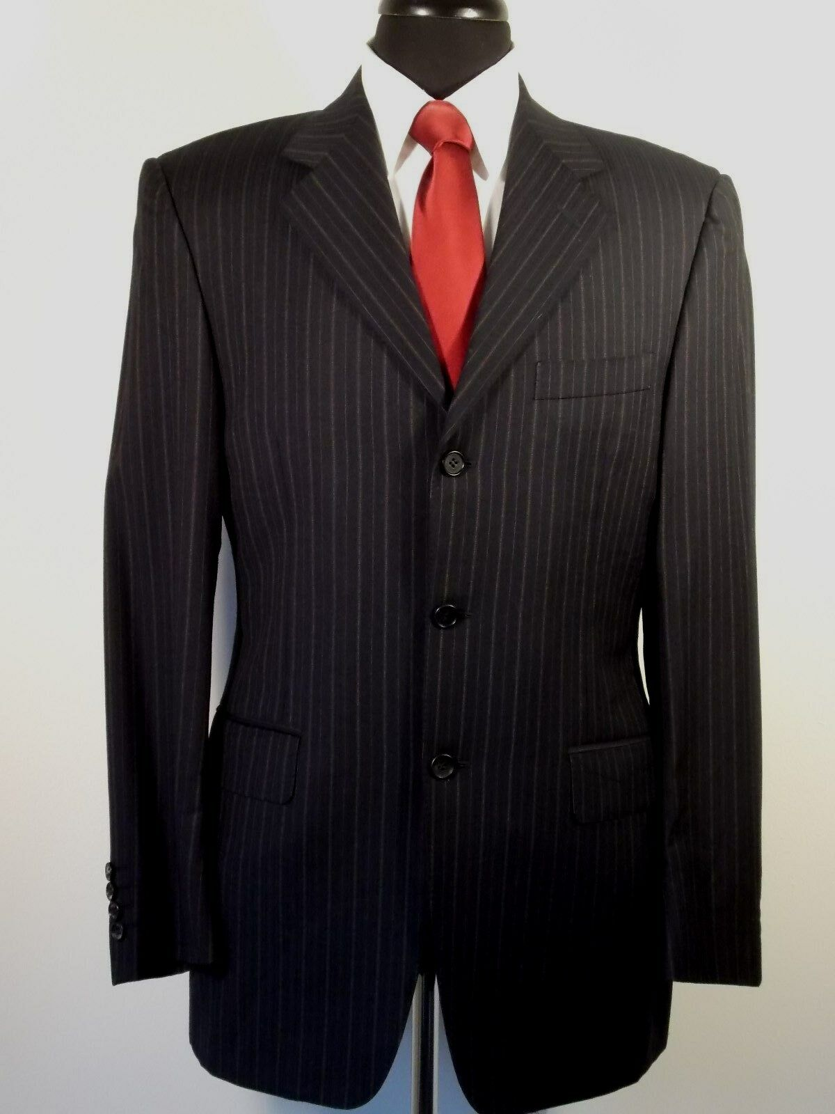 Canali navy stripe 3 button wool sport coat, 38R, dual vented, made in