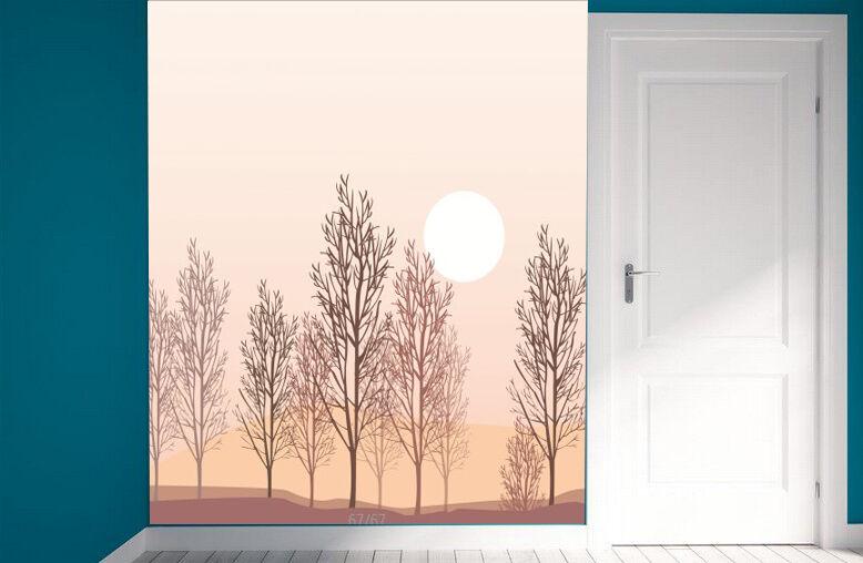 3D Trees Silhouette58 Fototapeten Wandbild Fototapete Bild Tapete Familie Kinder
