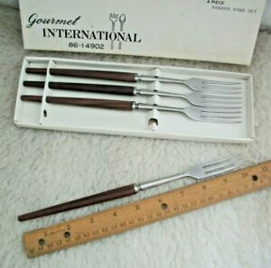 Vintage-Fondue-Forks-Set-of-4-Teak-Handles-3-Prongs-Kitsch-Stainless-Steel-Japan