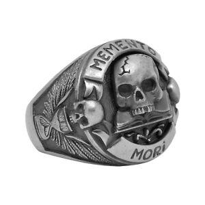 Handmade-Silver-925-Masonic-Skull-over-Book-034-Memento-Mori-034-Mens-Biker-Ring