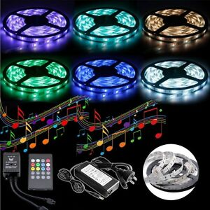 5050-RGB-5M-300-LED-SMD-12V-Strip-Light-IR-Music-Sound-Controller-5A-Adapter