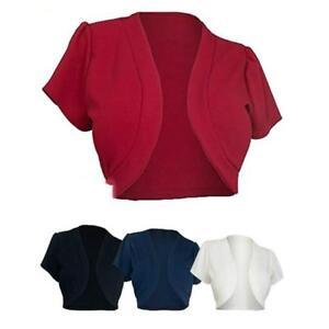 Women-Lace-Chiffon-Short-Sleeve-Crop-Shrug-Top-Ladies-Cardigan-LP