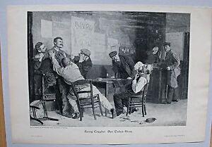 Justiz, Kriminalität, Messerstecherei - Der Todesstoss - Stich, Holzstich 1885
