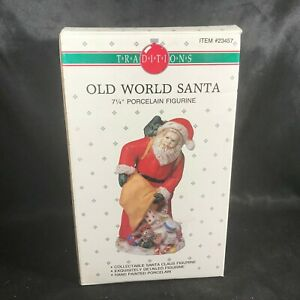 "Vintage Traditions Porcelain 7-1/4"" Old World Santa Figurine Original Box"