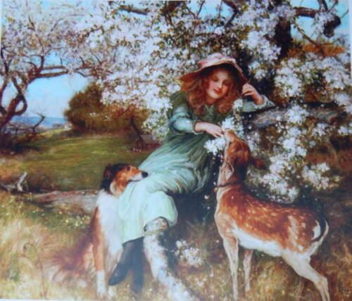 Girl with Collie and Deer by Robert Walker Macbeth