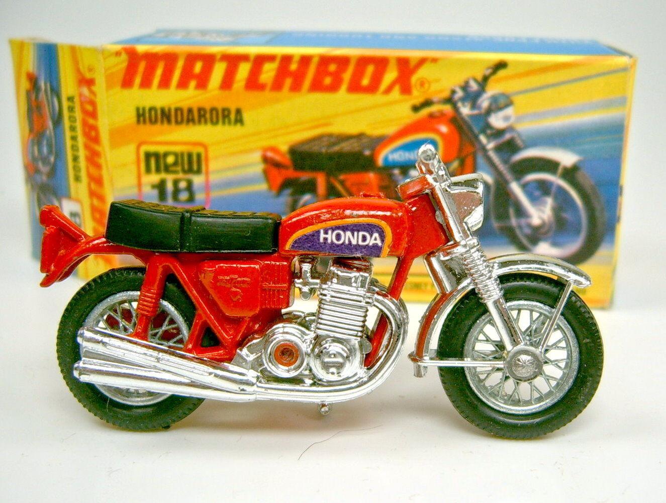 Matchbox SF 18B Hondarora verchromter Lenker 1. Gußform top in Box