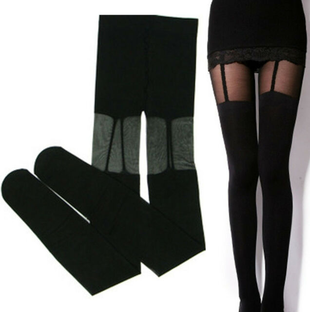 Fashion Stretchy Stockings Sweety Black Leggings Socks/w Fake Garters O/S @tt002