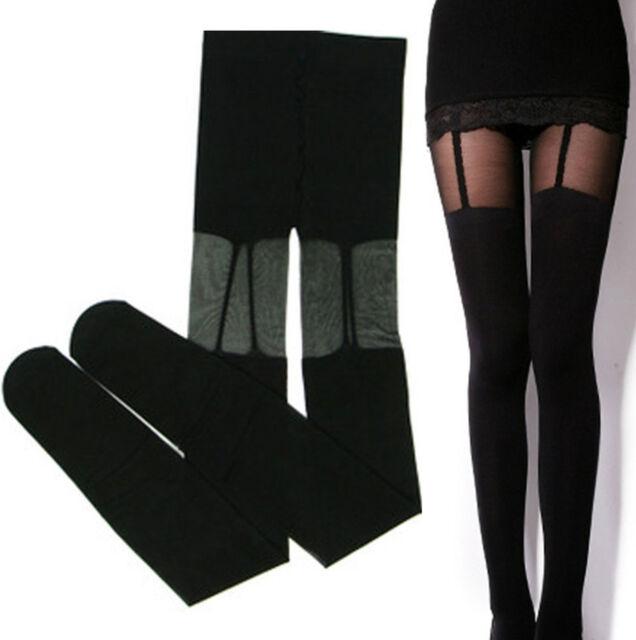 Fashion Stretchy Stockings Sweety Black Leggings Socks/w Fake Garters O/S @tt002