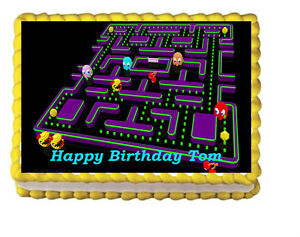 Image Is Loading Miss Pac Man Birthday Party Edible Cake Topper