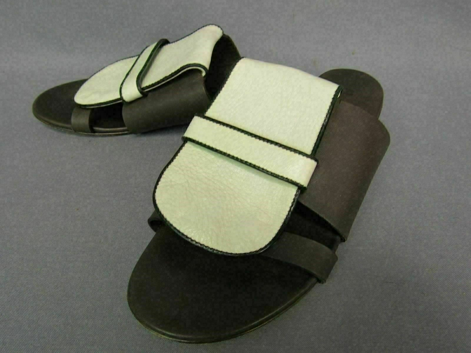 Marni  2 Tone Brown Off White Flat Leather Womens Sandals Size 37.5 7.5 8