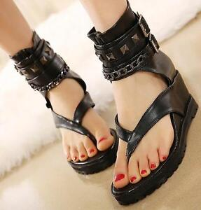 online store 79971 24a65 Details about Women Shoes Sandals Boots Punk Gothic Ladies Flip Flops  Thongs Metal Wedge Ankle