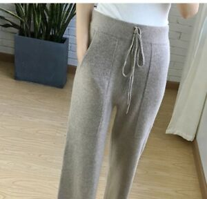 Womens-Cashmere-Blend-Wide-leg-Pants-Casual-Loose-High-waisted-Knitted-Chic-D17