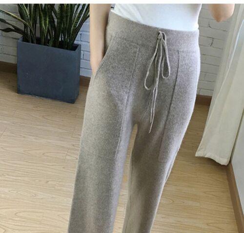 chic décontractée Pantalon jambe tricoté pour D17 taille taille de large cachemire à haute femmes mélange Uz1OwUq