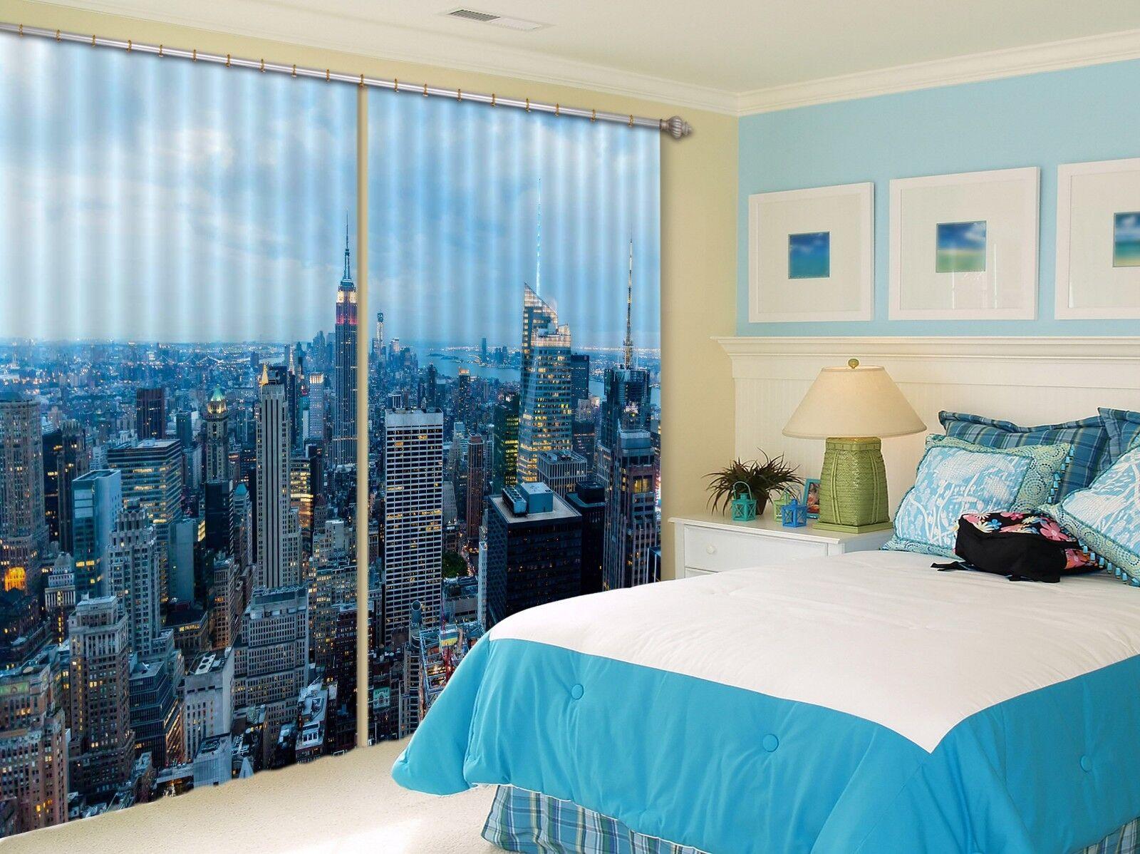 3D ciudad noche 9 Cortinas de impresión de cortina de foto Blockout Tela Cortinas Ventana CA