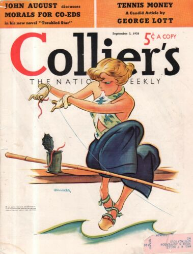 1938 Colliers Cover September 3 Woman Fishing