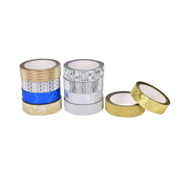10M Glitter Silver Gold Washi Tape Paper Self Adhesive Stick On Sticky Craft ATA