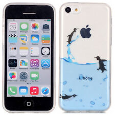 For iPhone 5C - TPU Rubber Silicone Skin Case Cover Blue Clear Penguins Swimming
