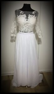 Brand-new-Chiffon-amp-Lace-3-4-sleeve-wedding-gown-White-Size-10-12