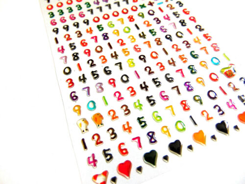 RCL7024 Small Coloured Numbers Stickers for Childrens Craft /& Card