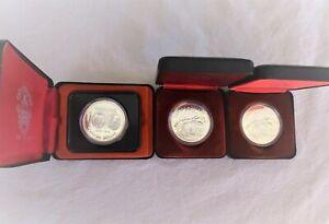 Lot of 3 Silver Canadian Dollars 2-1980 -Bear & 1- 1874-1974 Winnipeg