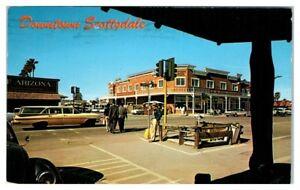 1963-Scottsdale-AZ-Main-Street-Scene-Woolworth-039-s-Postcard