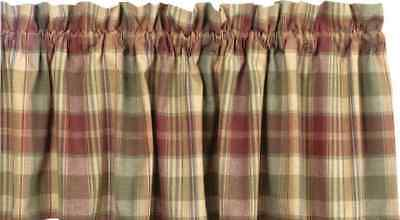 Saffron Plaid Valance Country Primitive Farmhouse Burgundy