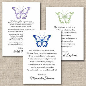 Image Is Loading 50 X DIY Butterfly Wedding Poem Cards For