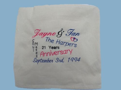 Personalised Anniversary Wedding Engagement Cotton Cushion Gift Embroidered