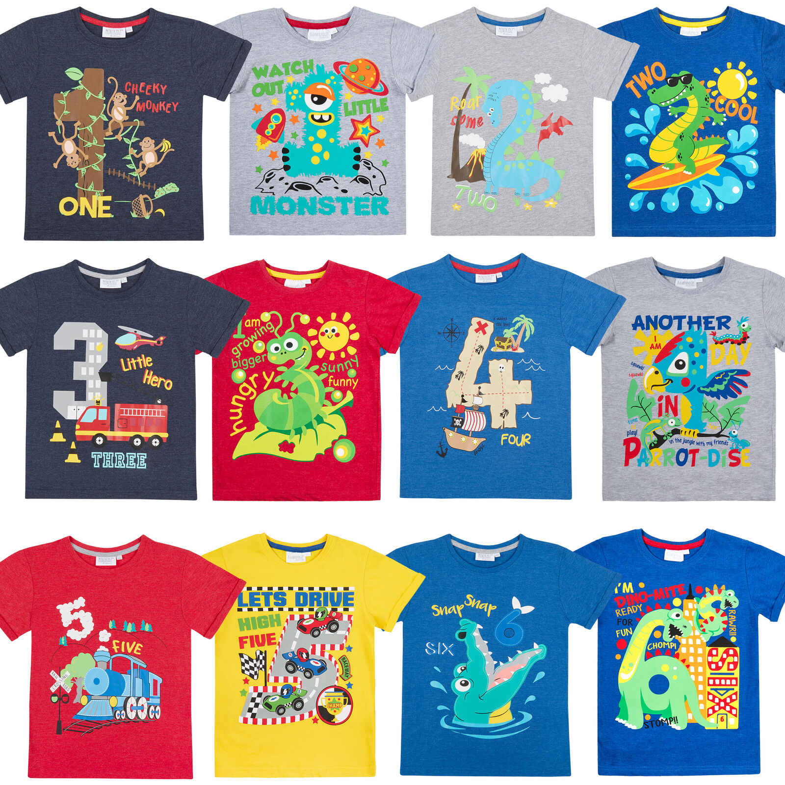 * Boys Birthday I Am Age Number T-Shirt Present Gift 1 2 3 4 5 6 Years Top Shirt